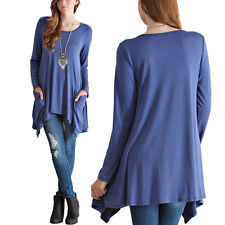 Blue Women's Loose Long Sleeve Cotton Casual Blouse - Goddess Beauty Royal Wigs
