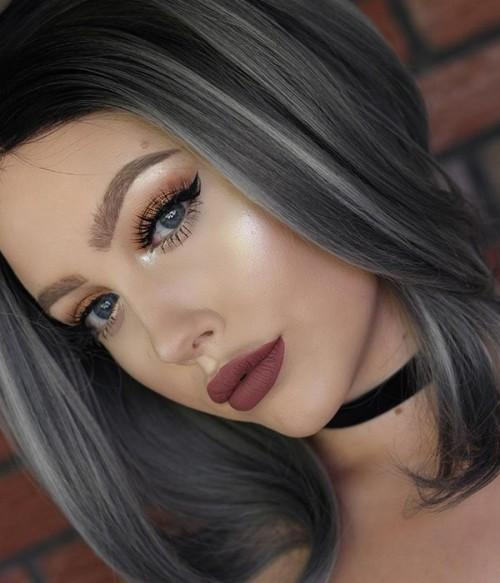 Ombre Black Gray Lacefront Wig Tasha - Goddess Beauty Royal Wigs