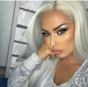 White Blonde Lace Front Wig 22-24inches!! - Goddess Beauty Royal Wigs