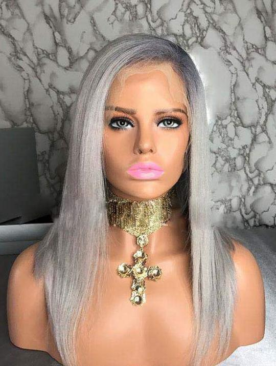 Gray Bob Virgin Human Hair Lace Front Wig - Goddess Beauty Royal Wigs