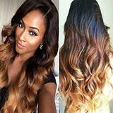 Body Wave #1B/#4/#27 Three Tone Ombre Brazilian Remy Human Hair Lace Front Wig - Goddess Beauty Royal Wigs