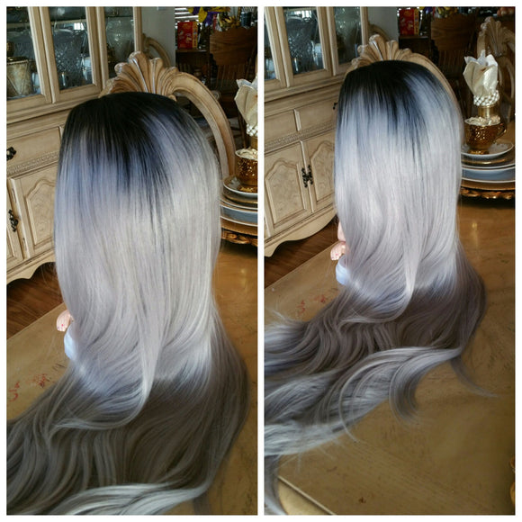Black Gray Ombre Lace Front Wig - Goddess Beauty Royal Wigs