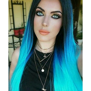 Black Blue Green Ombre Lace Front Wig - Goddess Beauty Royal Wigs