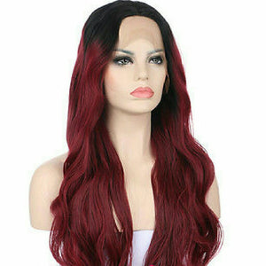Black Burgundy Ombre Lace Front Wig - Goddess Beauty Royal Wigs