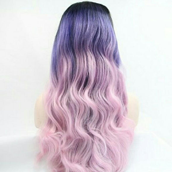 Blonde Ombre Pink Puple Lace Front Wig - Goddess Beauty Royal Wigs