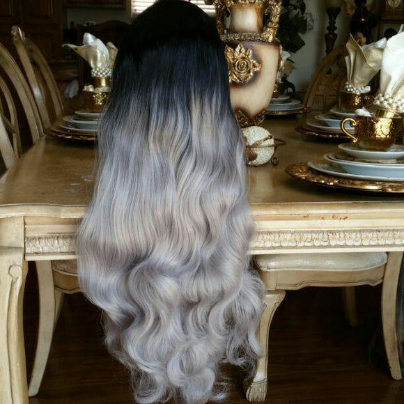 Black Gray Bodywave Ombre Lace Front Wig - Goddess Beauty Royal Wigs