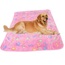 Warm fleece dog blanket wit paw and bone design | Dog Accessories
