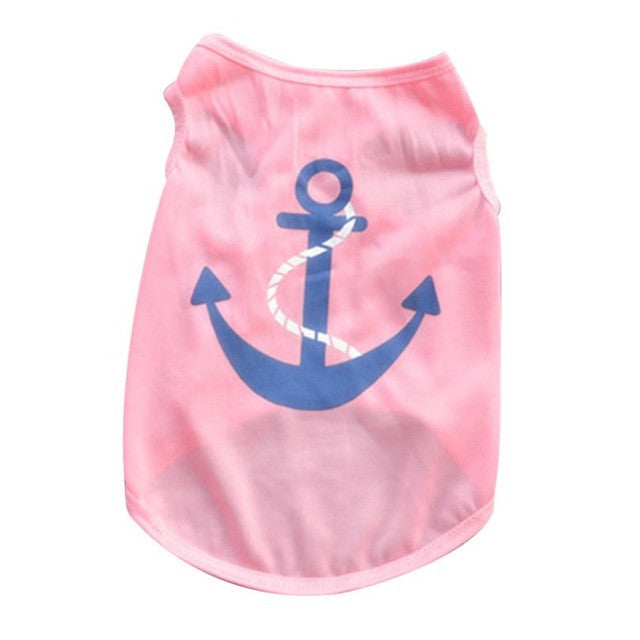 Anchor Design Dog Shirt in Pink | Dog Clothes