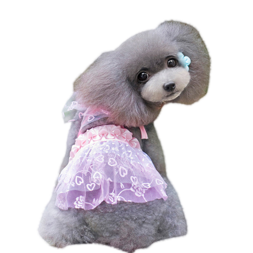 Pink Dog Dress, Mesh and Love Heart Design | Dog Dress