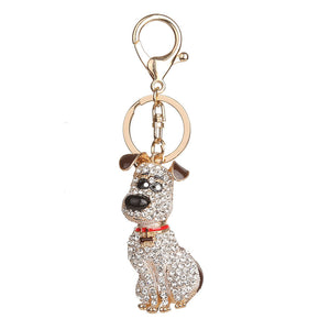 Sitting Dog Rhinestone Tassel / Keychain | Dog Accessories