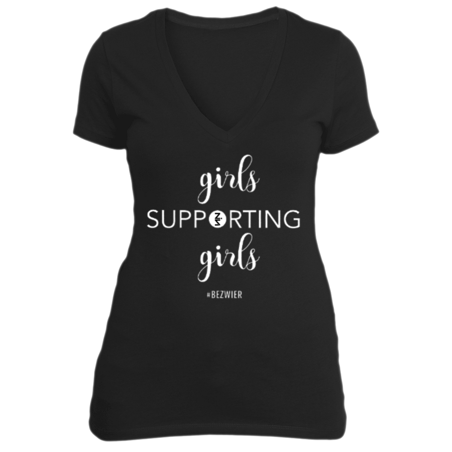 Girls Supporting Girls BLACK Deep V-Neck