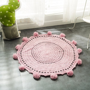 Nordic Round Crochet Wool Knit Blankets