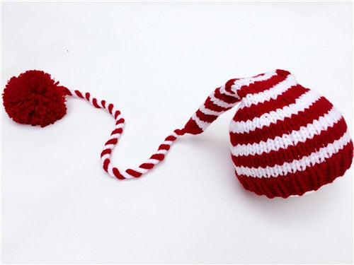 Knitted Long Tail Christmas Hat