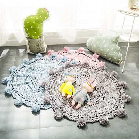 Nordic Round Corchet Wool Knit Blankets