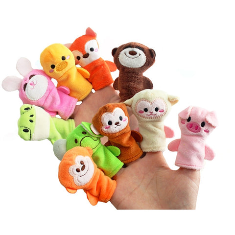 10pcs Soft Plush Animal Finger Puppets (assorted)