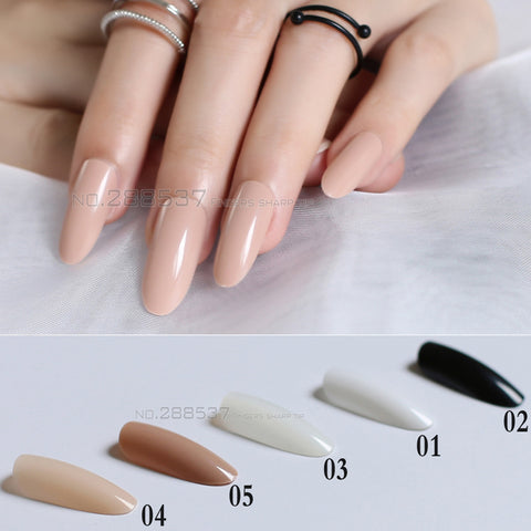 Long Oval Head Solid Color Round Blown False Nails 24pcs