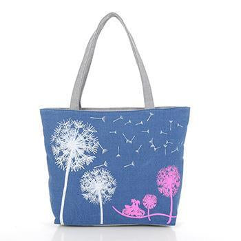 Fashion Dandelion Canvas Zipper Bag