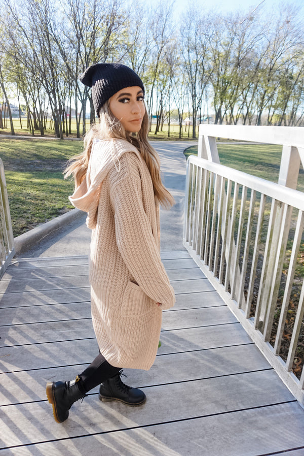 Oversized Hooded Cardigan in Taupe