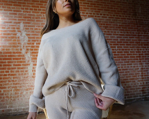 Kayla knit Lounge Set in Taupe