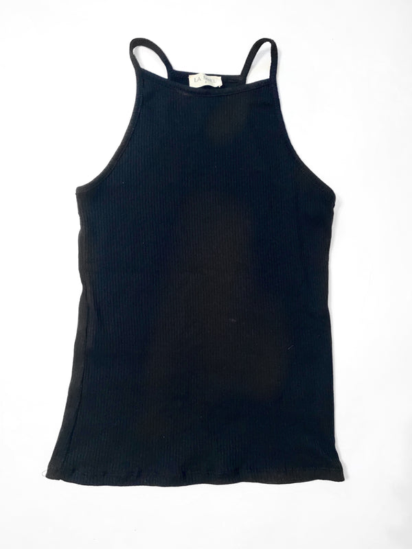 Black Ribbed high neck tank