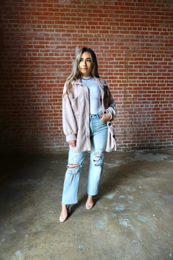 Oversized Sherpa Shacket in Taupe