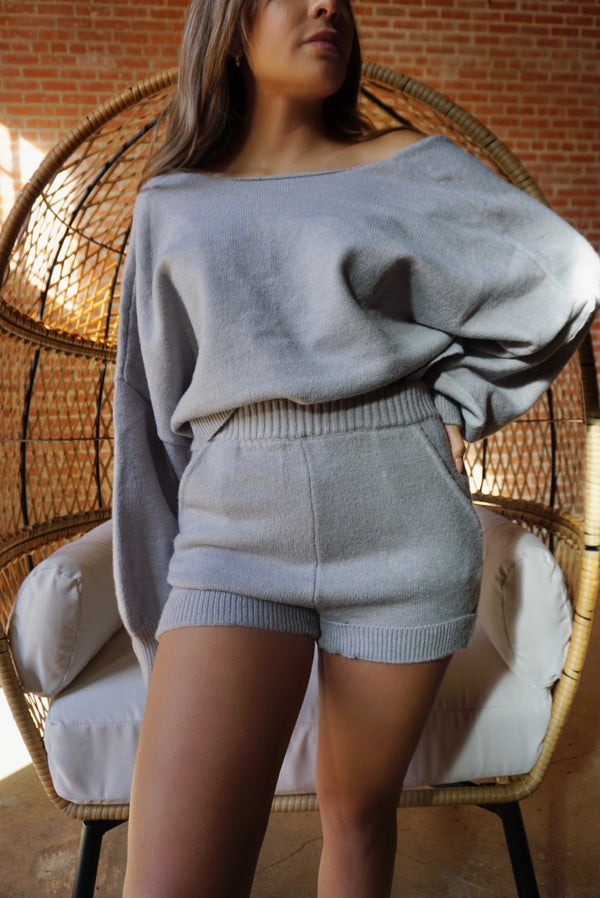 Skyler Grey Knit Short Set