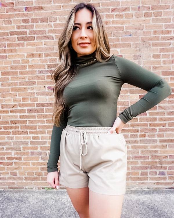Vegan Leather Shorts in Tan