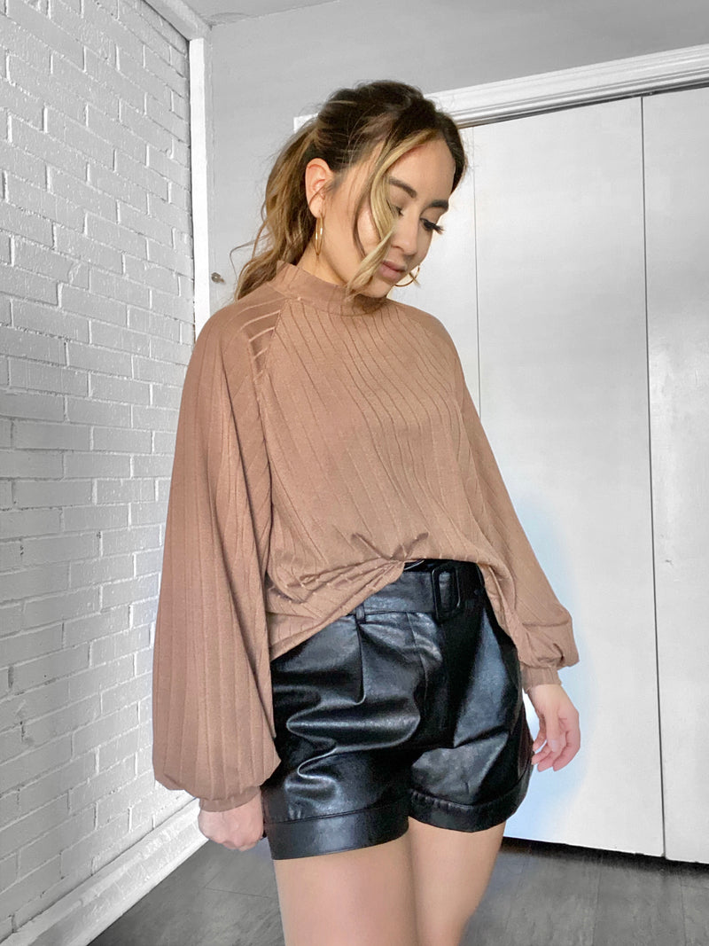 Mocha balloon sleeve Top