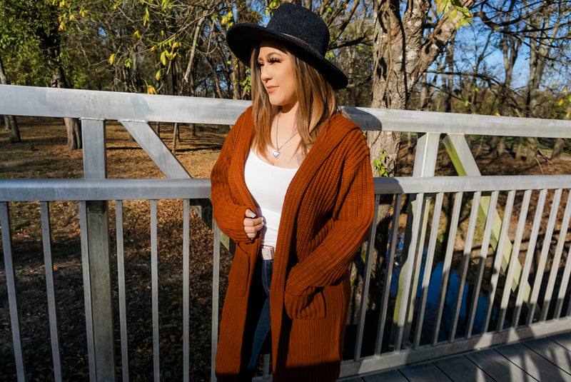 Oversized Hooded Cardigan in Brick