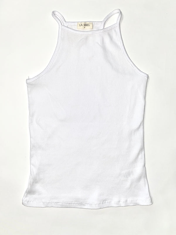 White Ribbed High neck tank