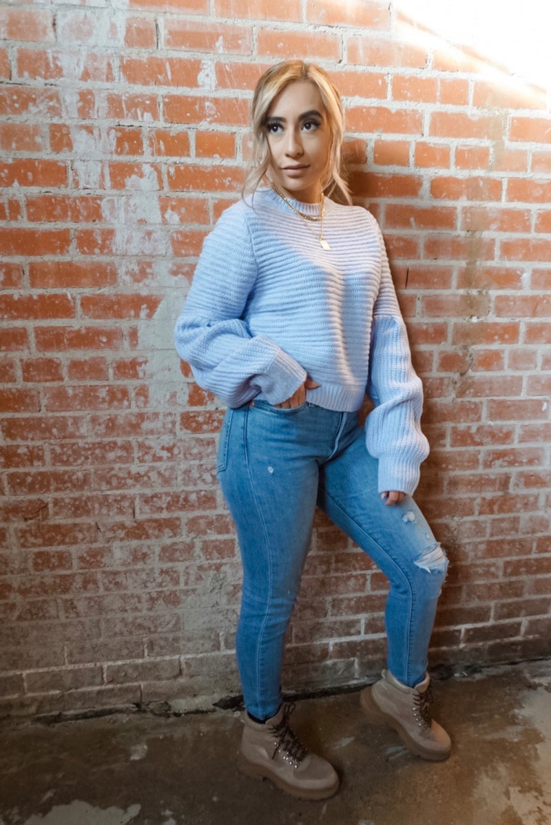 Puff Sleeve Pullover in Ice Blue