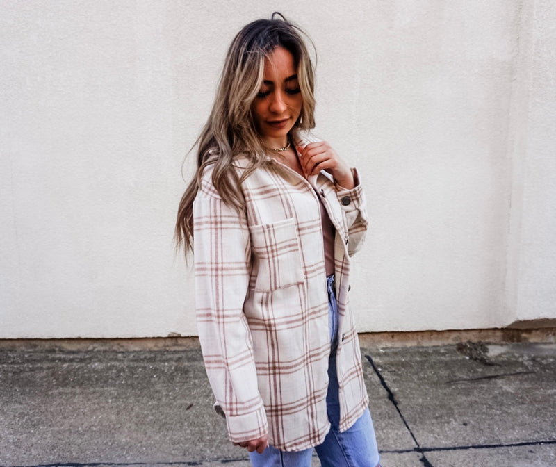 Striped Flannel Shacket in Camel