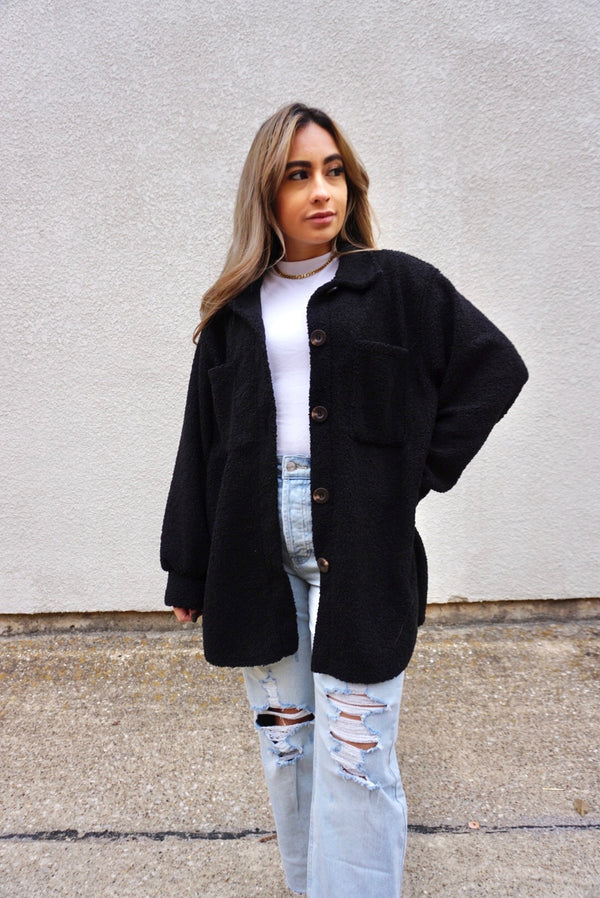 Oversized Sherpa Shacket in black