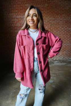 Oversized Sherpa Shacket in Pink