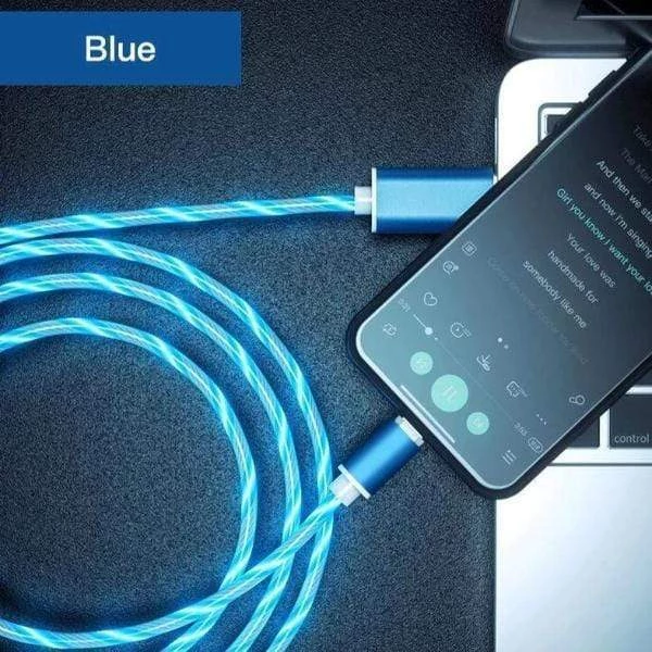 LIT™ - LED Magnetic Charging Cable for iPhone & Android USB Type C Cable Magnetic Cable LED Lighting fast Charging USB Micro Charger Cable Wire Huawei Samsung