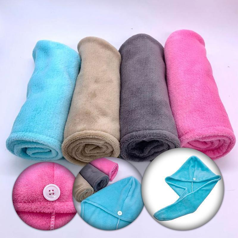 Rapid Hair Drying Microfiber Towel For Curly & All Hair Super Absorbent towel wrap with button