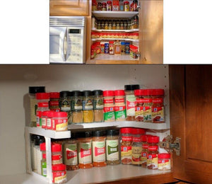 Adjustable Spice Rack - 2 Layers Kitchen Cabinet Cupboard Organizer Adjustable Kitchen Storage Shelf Spice Rack Countertop Organizer Cabinet Storage
