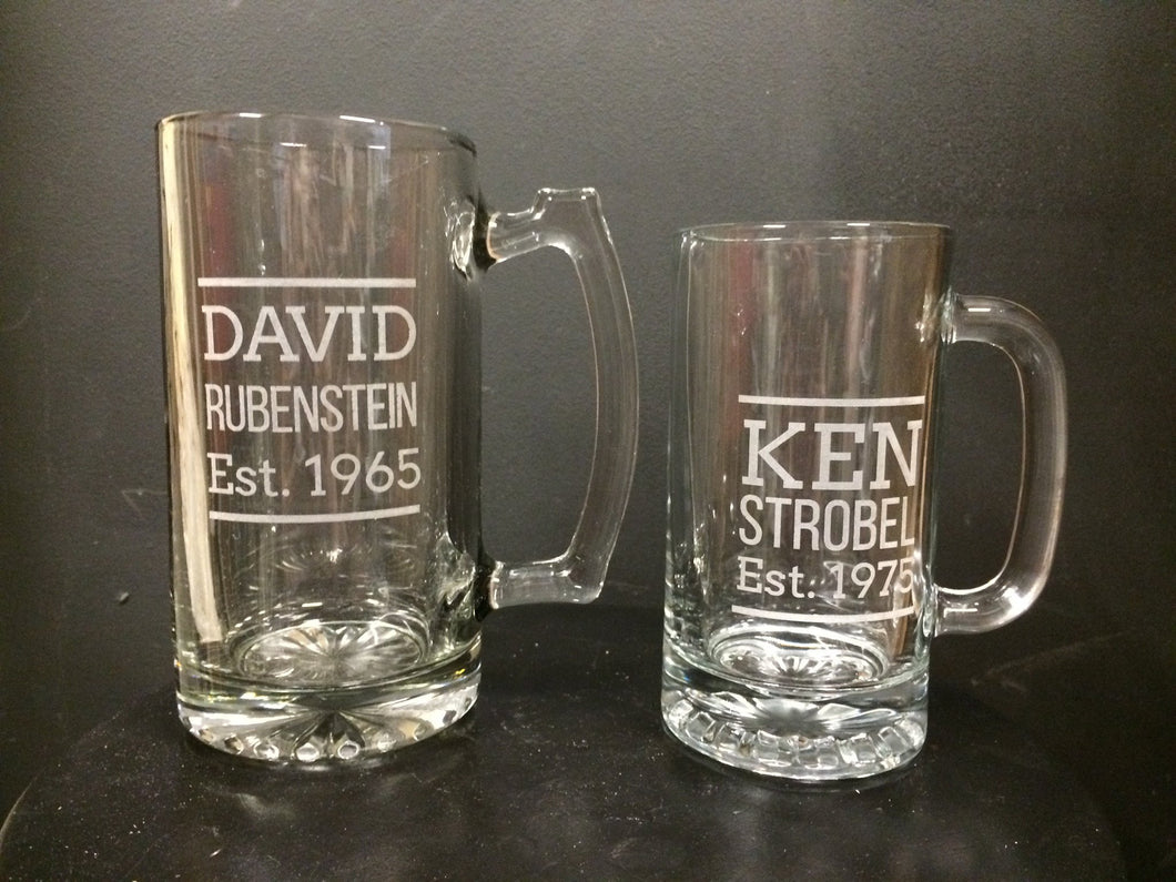 Personalized Monogram Glass Mug Stien - Duel Design Studio - 1