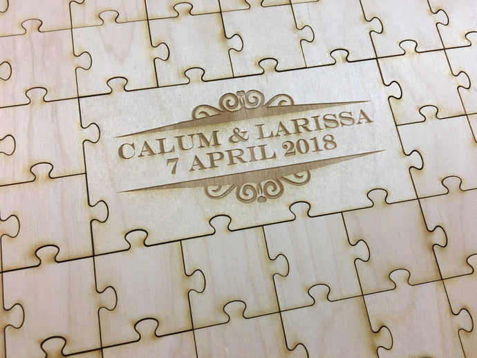 Dorset Monogram Wreath Center Engraved Infinity Wood Puzzle Guestbook Alternative
