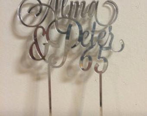 Wedding Anniversary Names in Heart Cake Topper - Duel Design Studio - 3