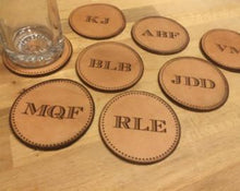 Leather Personalized Monogram Coasters - Duel Design Studio - 1