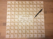 Venice Monogram Wreath Center Engraved Infinity Wood Puzzle Guestbook Alternative