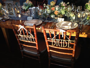 Set of Bride and Groom Wood Wedding Chair Signs - Duel Design Studio - 1