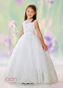 118318  Joan Calabrese Communion/Flower Girl Dress Sample Size  10 IVORY IN STOCK NOW