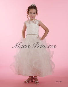 1990  MACIS Designs Communion / Flower Girl Dress Size 10 Sample ONLY  WHITE TEA