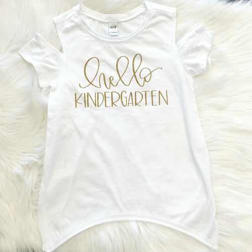 Custom with Name  Hello Kindergarten Cold Shoulder Shirt