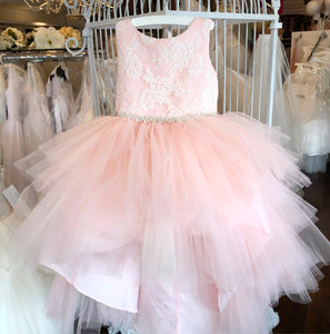 Blush Lace Tulle High Low Dress