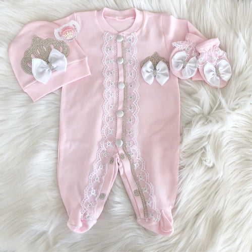 Blush Blush Baby Romper 3 Piece Set