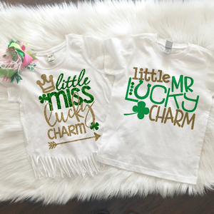 Little Miss Lucky Charm Girl/ Little Lucky Dude Boys Shirt - St Patrick's Day Shirt