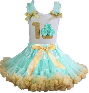 Mint and Gold Cupcake Birthday Pettiskirt Outfit Set